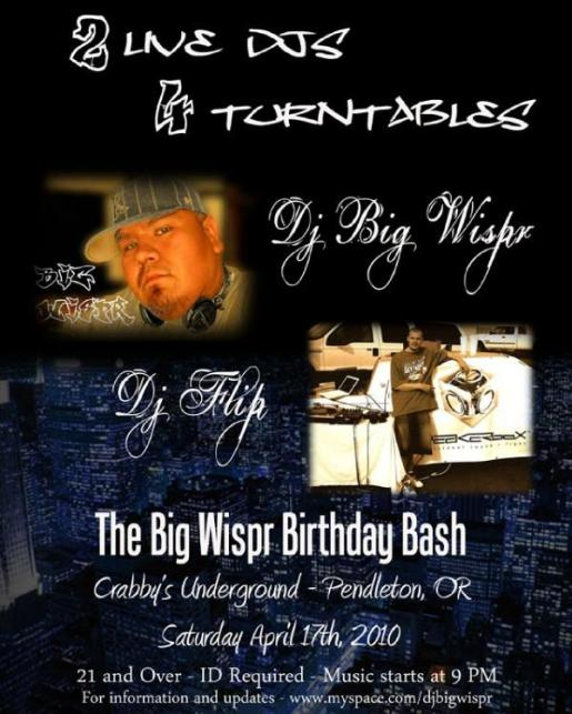 My Birthday Bash back in 2010 here in Pendleton, packed show and had a blast
