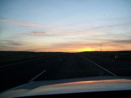 Driving Home Into The Sunrise On I-84