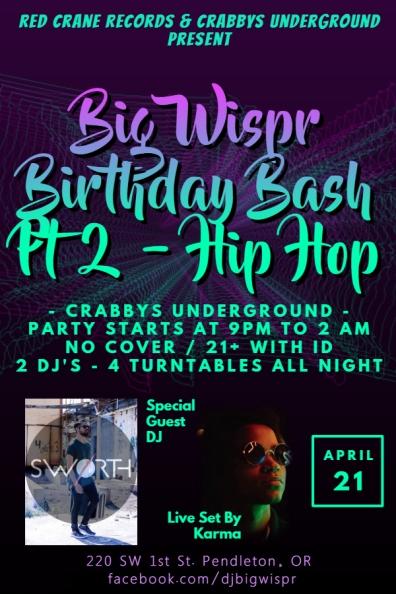 Birthday Bash Part 2 Hip Hop Flyer